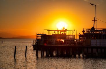 Passenger ship at sunset, Podersdorf