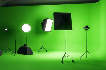 Bright green photo studio
