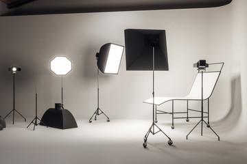 Light concrete photo studio