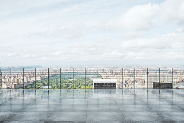 Fototapete - Rooftop with city view