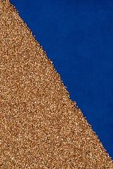 Buckwheat on blue cloth, diagonal