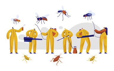Mosquito Pest Control Professional Character Set. Man in Uniform Fight with Insect with Chemical Insecticide Fogging Spray. Cockroach Toxic Protection Fumigation Flat Cartoon Vector Illustration