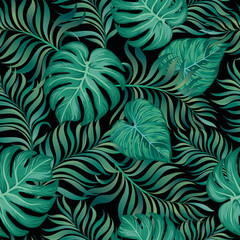 Tropical vector seamless background. Exotic summer print.