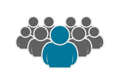 Leadership concept, crowd of people icon silhouettes