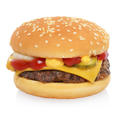 Classic cheeseburger isolated on white