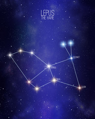 Lepus the hare constellation on a starry space background with the names of its main stars. Relative sizes and different color shades based on the spectral star type.