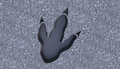 3D illustration of Tyrannosaurusa Rex footprint