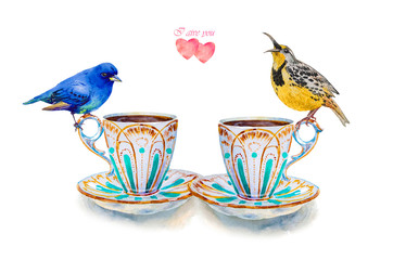 Party colorful tea cups and saucers with hearts closeup. Sketch handmade.Two birds. Postcard for Valentine's Day. Watercolor illustration.