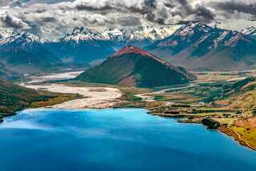 New Zealand, South Island, Otago region. The nothern end of Lake Wakatipu, Mt Alfred surrounded by Dart River and Rees River,  Glenorchy settlement (on the right), Southern Alps in the background