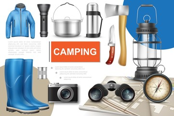 Realistic Camping Elements Collection