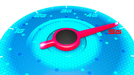 Pressure gauge, speed meter, speed test, internet speed and 5G connection. New technologies, exploit broadband. Technological potentialities, new applications and products. Speedometer. 3d rendering