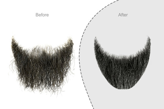 Men's beard before and after hair salon