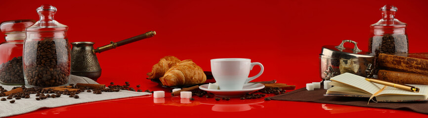 Wall Murals Cafe Coffee panorama with white mug and coffee accessories on red background