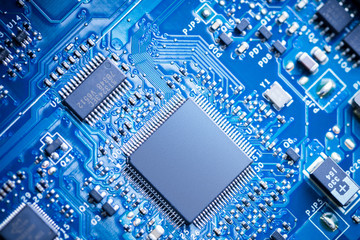 Close Up - Chips in a computer circuit board