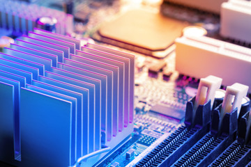 Close Up -  Heatsink, memory, chips in a computer circuit board motherboard