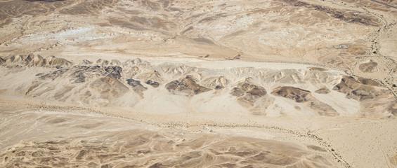 DESERT, ISRAEL - February 28, 2019: Flying over the yellow Desert of Israel.