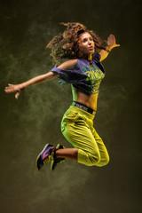 jumping zumba dancer with smoke background