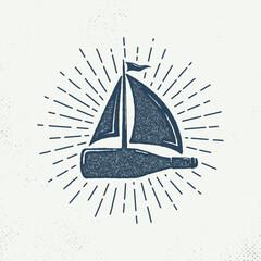Bottle sailboat with sunburst. Hand drawn on a white background, an inspirational logo. Hand-drawn monochrome black sketch design illustration. - Vector