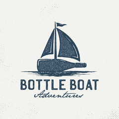 Bottles with sailboats. Hand drawn on a white background, an inspirational logo. Hand-drawn monochrome black sketch design illustration. - Vector
