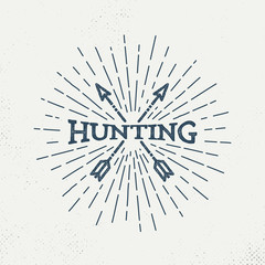 Hipster, Retro Hunting Logo Design Inspiration arrowhead with sunburst - Vector