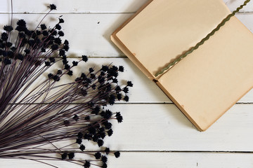 Vintage Notebook and Flowers