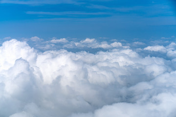 Beautiful Blue sky over white cloud view from airplane