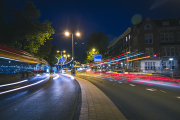 Light trails at night in Amsterdam