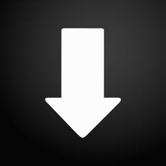 Arrow down icon white on a black gradient background