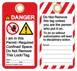 Danger I am This Permit -Required Confined Space Do Not Remove This Lock/Tag Symbol Sign, Vector Illustration, Isolate On White Background Label. EPS10