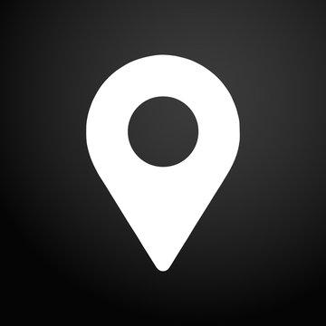 Location icon. Black flat square button