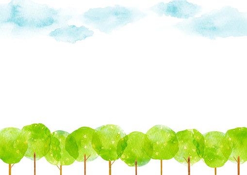 並木道と空 背景  水彩 イラスト