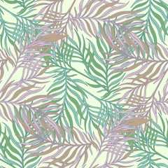 Foto op Canvas Tropische Bladeren Decorative ornamental seamless spring tropical pattern. Endless elegant texture with leaves. Tempate for design fabric, backgrounds, wrapping paper, package, covers