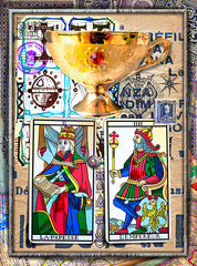 In de dag Imagination Alchemy and tarot's. Manuscripts, sketches, graffiti and alchemical, astrological, esoteric, ethnical drawings, with symbols, tarots, and chemical and magical formulas