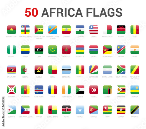 Africa flags of country  50 flag rounded square icons Vector