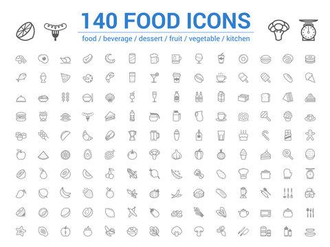 140 food line icons set. Vector illustration on white background