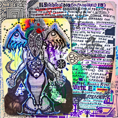 Garden Poster Imagination Alchemy and tarot's. Manuscripts, sketches, graffiti and alchemical, astrological, esoteric, ethnical drawings, with symbols, tarots, and chemical and magical formulas