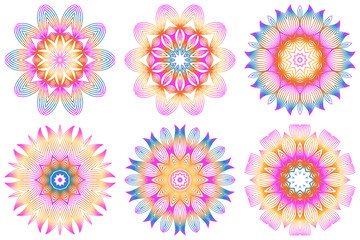 Set of Floral Color Mandala. Arabic, Indian, Motifs. Vector Illustration. Rainbow color