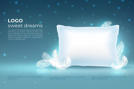 https stock adobe com ee images realistic dream concept comfort sleep bed relax pillow with feathers mockup clouds stars on night sky dream vector background 254114633 start checkout 1 content id 254114633