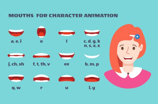 Mouth sync. Girl face with lips talking expression. Articulation and smile, speaking female mouths animation with alphabet vector set