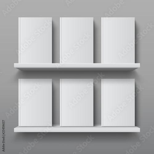 Realistic bookshelf with books  Library shelf mockup, modern office