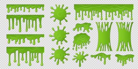 Green slime. Goo paint drip, spooky liquid borders, toxic sticky shape isolated on white. Vector slime splash blobs and green mucus