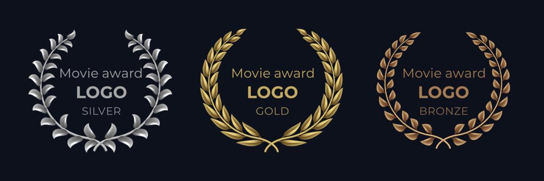 Movie award logo. Laurel golden emblems, winner reward foliage banner, show prize luxury concept. Vector golden wreath set