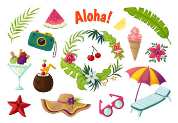 Exotic stickers. Summer party tropical collection of doodle fruits leaves cocktail flamingo, jungle vacation abstract vector elements