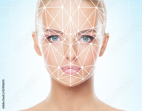 Portrait of beautiful girl with a scnanning grid on her face