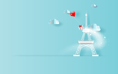 3D Paper art of red balloons heart gift floating in sky with landscape cloudscape view shadow. Scene place for your text space in Eiffel tower Paris travel holiday concept. Blue color pastel.vector.