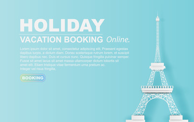 Paper art of Travel in holiday hotel booking Eiffel tower Paris city.website pastel color concept your text space background.Illustration of idea design vacation.web design simple.vector.illustration.