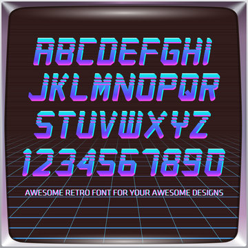 Virtual Reality Retro Futuristic Font. Stylish Retro Synth Wave Alphabet in 80s style. Vector font on laser grid background