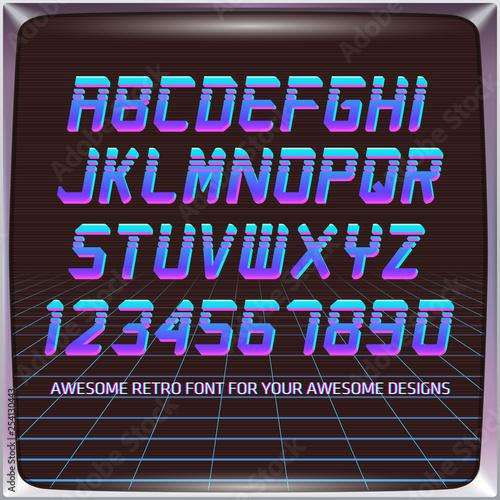 Virtual Reality Retro Futuristic Font  Stylish Retro Synth Wave