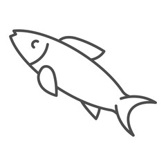 Herring fish thin line icon. Aquatic food vector illustration isolated on white. Seafood outline style design, designed for web and app. Eps 10.