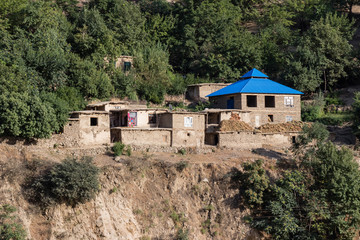 House in Afghanistan in the Pamir Mountains in the border area to Tajikistan